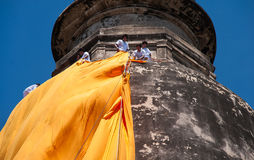 Manta tradicional en Wat Yai Chaimongkol Fotos de archivo