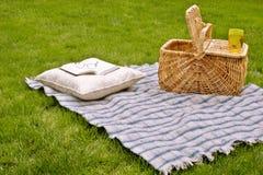 Manta y cesta de la comida campestre Fotos de archivo libres de regalías
