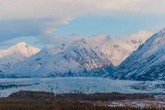 Mantanuska Glacier. The Mantanuska glacier in the spring early in the night Stock Photo