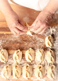Mantas_cooking_process_30. Woman who is cooking dumplings Royalty Free Stock Photography