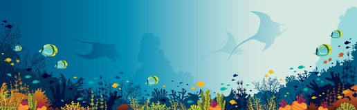 Mantas, coral reef, underwater sea. Silhouette of mantas, coral reef and fishes on a blue sea background. Underwater marine life. Vector panoramic illustration Stock Photography