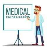 Manteau de docteur Man In White près de rencontrer l'écran de projecteur, vecteur médical de présentation Illustration d'isolemen illustration stock