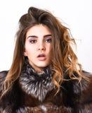 Manteau de fourrure de fille posant avec la coiffure sur la fin blanche de fond  Empêchez les dommages de cheveux d'hiver Visage  photos libres de droits