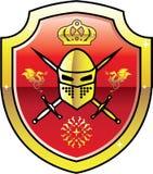 Manteau de logo royal de chevalier de bras sur le bouclier avec le vecteur d'or d'épées Images libres de droits
