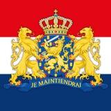 Manteau de Netherland de bras et de drapeau, élaboration graphique Photographie stock libre de droits