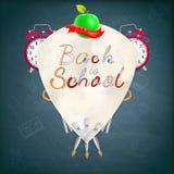 Manteau des bras avec des fournitures scolaires ENV 10 Images stock
