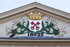 Manteau des bras de Leyde sur le Koornbrug Images libres de droits