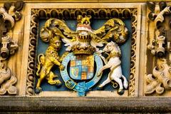 Manteau des bras médiéval dans la bibliothèque de Bodleian, Oxford Image libre de droits