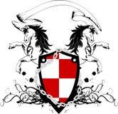 Manteau héraldique de cheval de la crête shield4 de bras Images stock