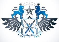 Manteau héraldique de la protection à ailes décorative de vecteur d'emblème de bras Photos stock