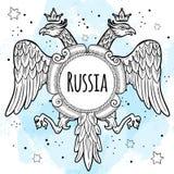 Manteaux des bras de l'empire russe Aigles à tête double couronnés Illustration tirée par la main de vecteur d'isolement Motif na illustration stock