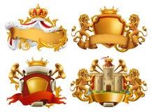 Manteaux des bras Roi et royaume Ensemble d'emblème de vecteur illustration libre de droits