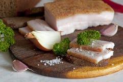 Manteca de cerdo salada cortada del cerdo (salo) Imagenes de archivo
