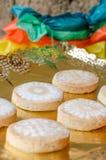 Mantecados i Polvorones, typowi Hiszpańscy Bożenarodzeniowi cukierki Fotografia Stock