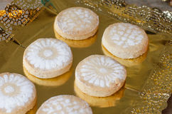 Mantecados and Polvorones, typical Spanish Christmas sweets. Stock Photo