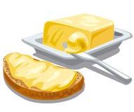 Manteiga com pão ilustração royalty free