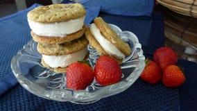 Manteiga da cookie da morango Imagens de Stock Royalty Free