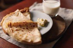 Manteiga das panquecas Russo bliny Maslenitsa Imagem de Stock Royalty Free