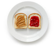 Manteiga de amendoim & sanduíche da geléia fotografia de stock