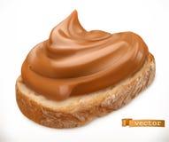 Manteiga de amendoim no p?o Propagação do caramelo ?cone real?stico do vetor 3d ilustração royalty free