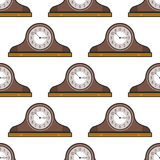 Mantel clock. Seamless pattern. Decorative background. Stock Photos
