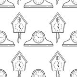 Mantel Clocks And Cuckoo Clock Black White Seamless Pattern For Coloring Books Stock Photography