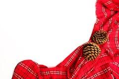 Mantel rojo con el cono del pino y el espacio de la copia Foto de archivo libre de regalías