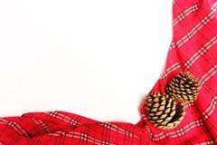 Mantel rojo con el cono del pino y el espacio de la copia Imágenes de archivo libres de regalías