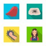 Mantel, Rot, Kleidung und andere Netzikone in der flachen Art Super, Stärke, Mädchen, Ikonen in der Satzsammlung lizenzfreie abbildung