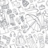 Mantel und Bekleidungszubehör im nahtlosen Muster Lizenzfreies Stockbild