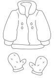 Mantel und Handschuhe, die Seite färben Lizenzfreie Stockbilder
