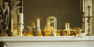 Mantelpiece with Christmas decor. And lights Royalty Free Stock Photo