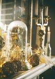 Mantelpiece with Christmas decor. Vintage toned image. Mantelpiece with Christmas decor. Vintage toned image, grain texture Stock Photography
