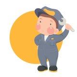 Mantenga al trabajador en desgaste del trabajo con la llave en fondo amarillo del círculo Imágenes de archivo libres de regalías