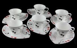 Mantenga el sistema de tazas de té. Foto de archivo