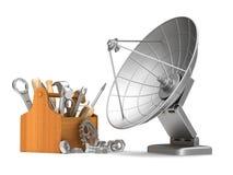 Mantenga la antena por satélite en el fondo blanco Illust aislado 3d Fotos de archivo