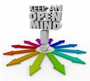 Mantenga las palabras de la mente abierta un 3d que aceptan nuevas ideas no críticas Fotos de archivo