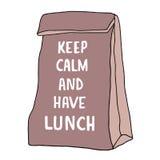 Mantenga tranquilo y tenga ejemplo del almuerzo Bolso del almuerzo con la mano dibujada Foto de archivo