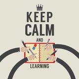Mantenha a calma e a aprendizagem Fotografia de Stock