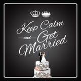 Mantenha a calma e casar-se o projeto ilustração stock