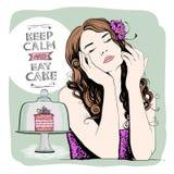 Mantenha a calma e coma o bolo, projeto com o retrato bonito calmo da mulher ilustração royalty free