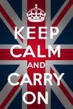 Mantenha a calma e continue - a união Jack Foto de Stock Royalty Free