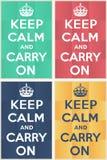 Mantenha calmo e continue o modelo Imagem de Stock Royalty Free