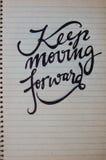 Mantenha mover para a frente o fundo caligráfico Fotografia de Stock Royalty Free