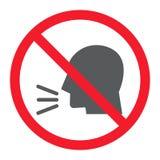 Mantenha o ícone do glyph do silêncio, proibição e proibido ilustração do vetor