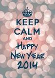 Mantenha o ano novo calmo e feliz 2014 Foto de Stock