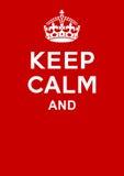 Mantenha o cartaz calmo Fotografia de Stock Royalty Free