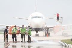 Mantenimiento de aviones para evitar el impacto de la ceniza volcánica Imágenes de archivo libres de regalías