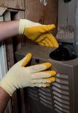 Mantenimiento de la calefacción del horno Imagen de archivo