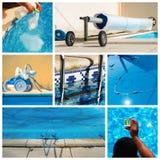 Mantenimiento del collage de una piscina privada imagen de archivo libre de regalías